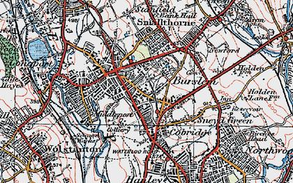 Old map of Burslem in 1921