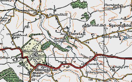 Old map of Burstall in 1921