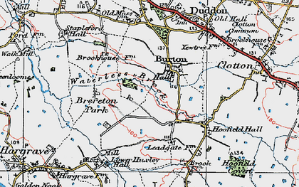 Old map of Burton in 1923