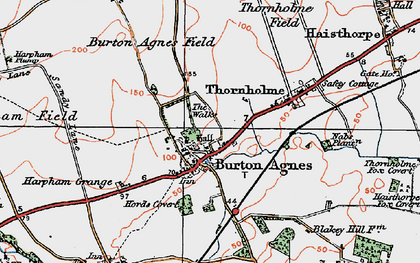 Old map of Burton Agnes in 1924