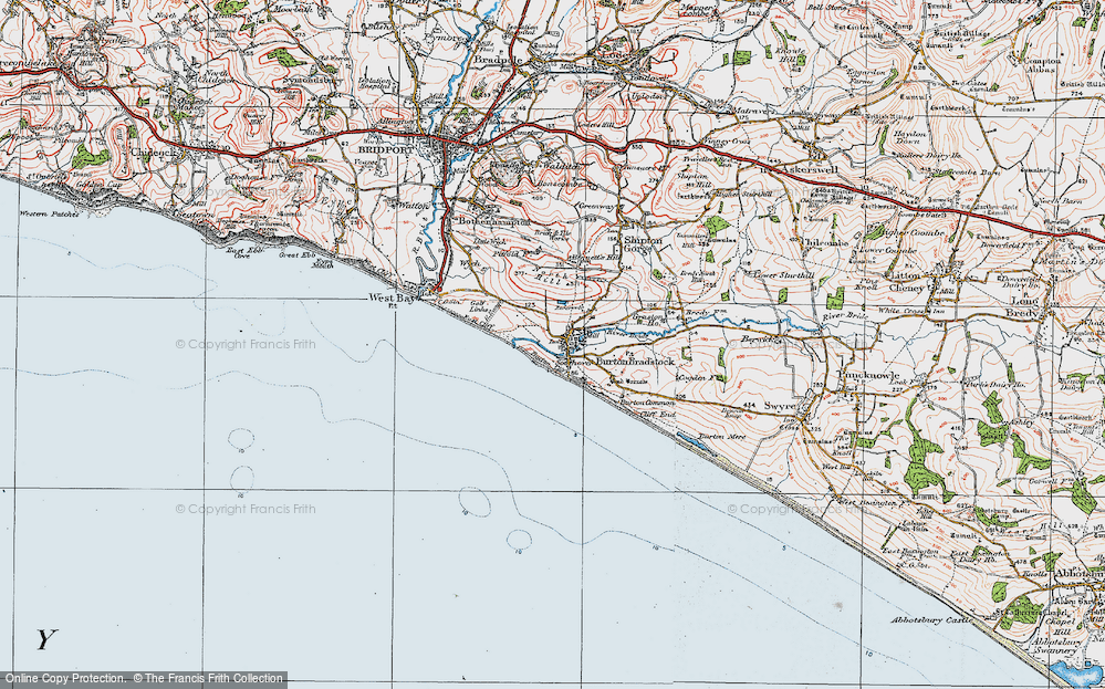 Old Map of Burton Bradstock, 1919 in 1919