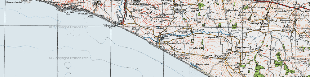 Old map of Burton Bradstock in 1919