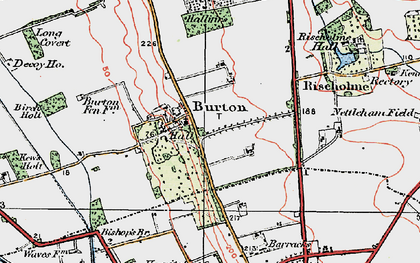 Old map of Burton-by-Lincoln in 1923