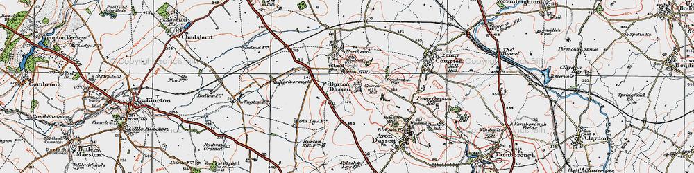 Old map of Burton Dassett in 1919