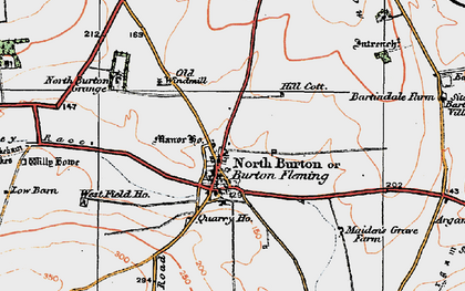 Old map of Burton Fleming in 1924
