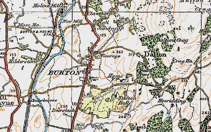 Old map of Burton-in-Kendal in 1925