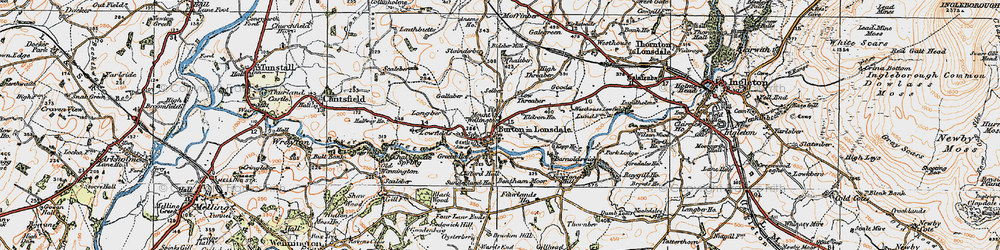 Old map of Burton in Lonsdale in 1924