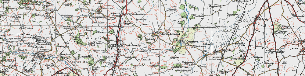 Old map of Burton Leonard in 1925