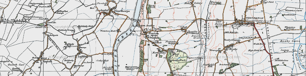 Old map of Burton upon Stather in 1924