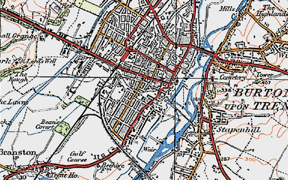 Old map of Burton upon Trent in 1921