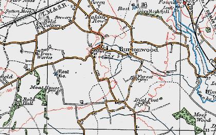 Old map of Burtonwood in 1923