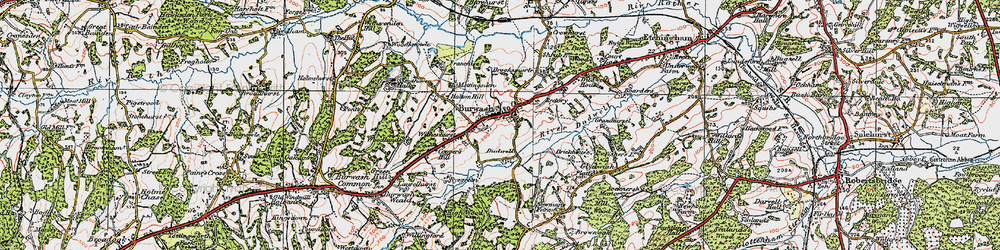 Old map of Burwash in 1920