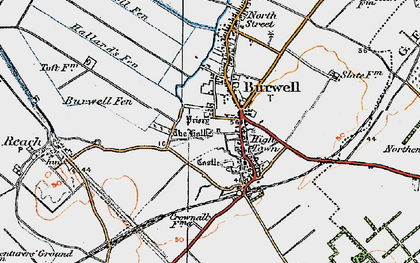 Old map of Burwell in 1920