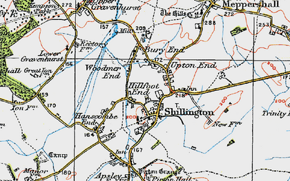 Old map of Bury End in 1919
