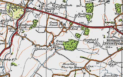 Old map of Bury Green in 1919
