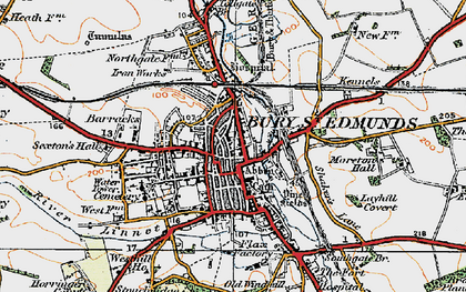 Old map of Bury St Edmunds in 1921