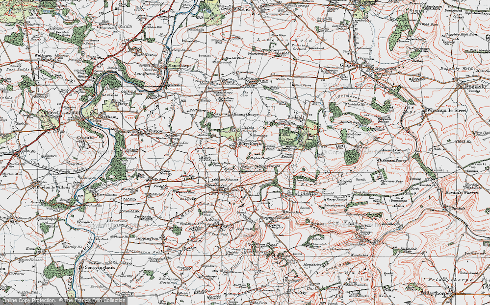 Old Map of Historic Map covering Langhill Plantn in 1924