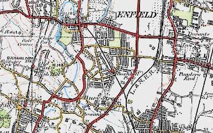 Old map of Bush Hill Park in 1920