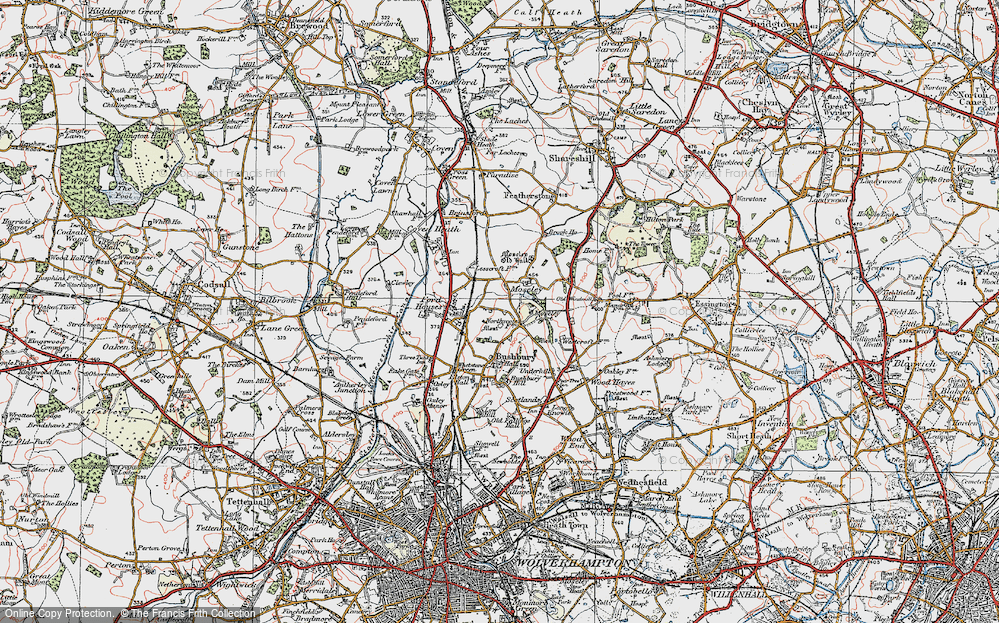 Old Map of Bushbury, 1921 in 1921