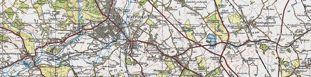 Old map of Bushey in 1920