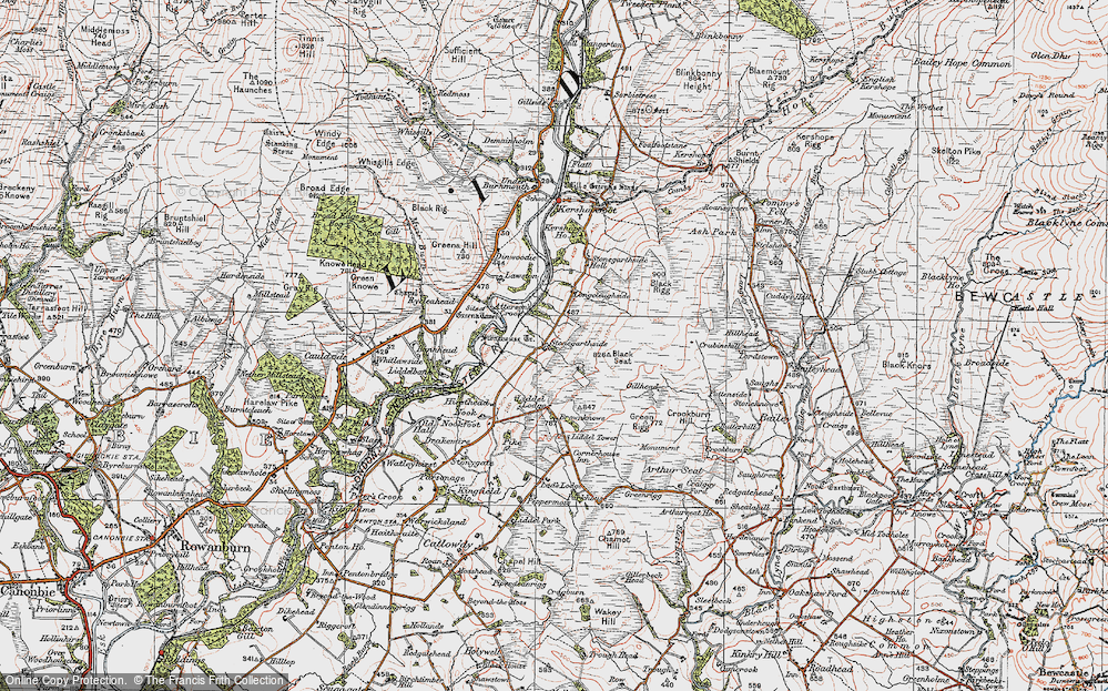 Old Map of Historic Map covering Liddel Lodge in 1925