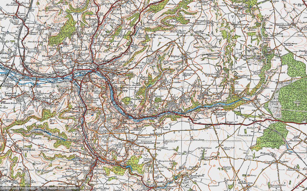 Old Map of Historic Map covering Toadsmoor Woods in 1919