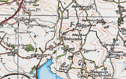 Old map of Butcombe in 1919