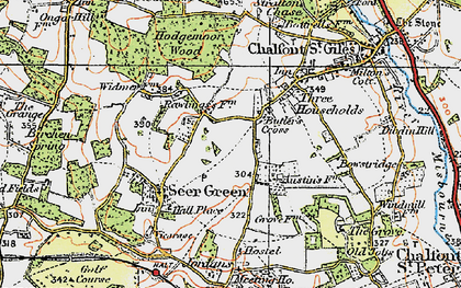 Old map of Austens in 1920