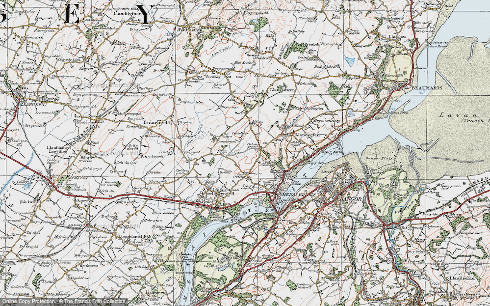 Old Map of Historic Map covering Y Dolydd in 1922