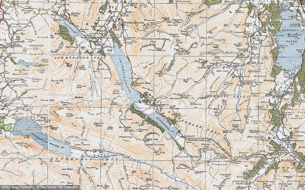 Old Map of Historic Map covering Ling Comb in 1925