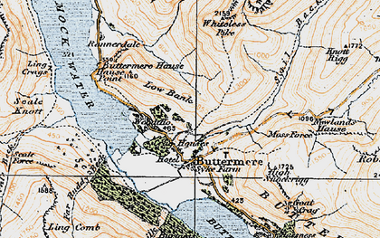 Old map of Whiteless Breast in 1925