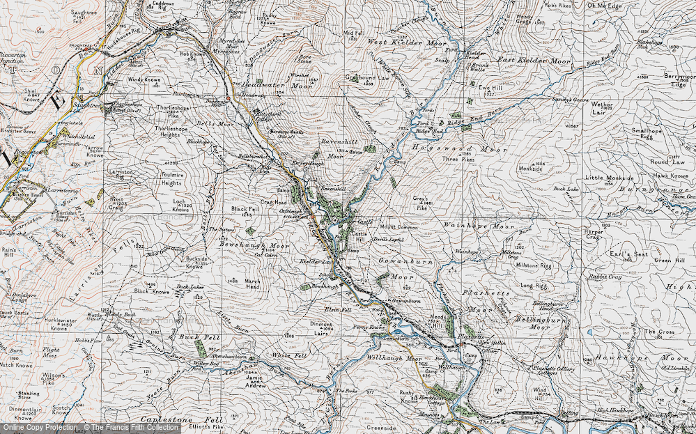 Old Map of Historic Map covering Bakethin Reservoir in 1925