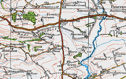 Old map of Thurlibeer in 1919
