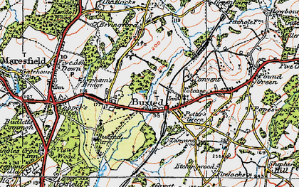 Old map of Buxted in 1920