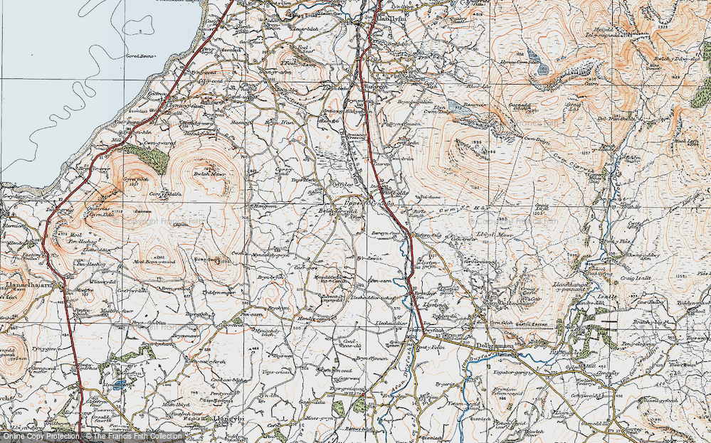 Old Map of Historic Map covering Ynys Hwfa in 1922