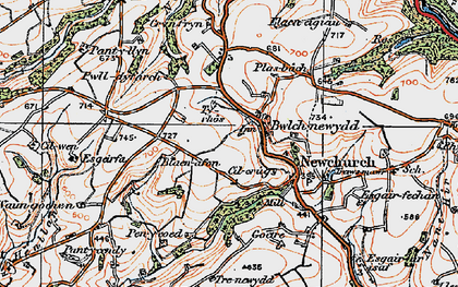 Old map of Bwlch-newydd in 1923