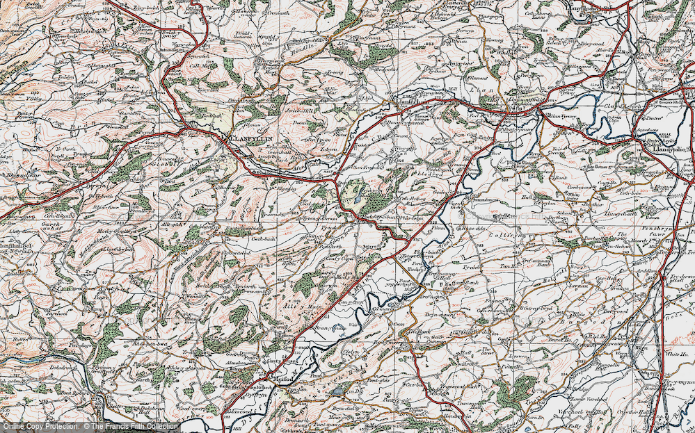 Old Map of Historic Map covering Afon Cain in 1921