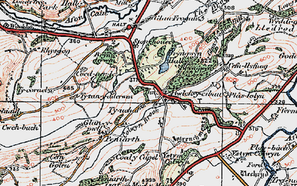 Old map of Afon Cain in 1921