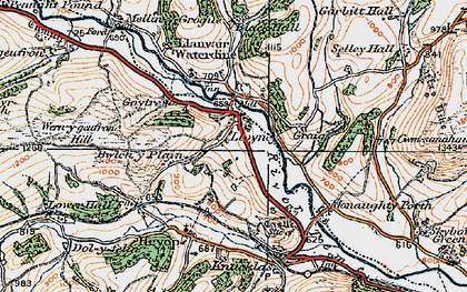 Old map of Bwlch-y-Plain in 1920