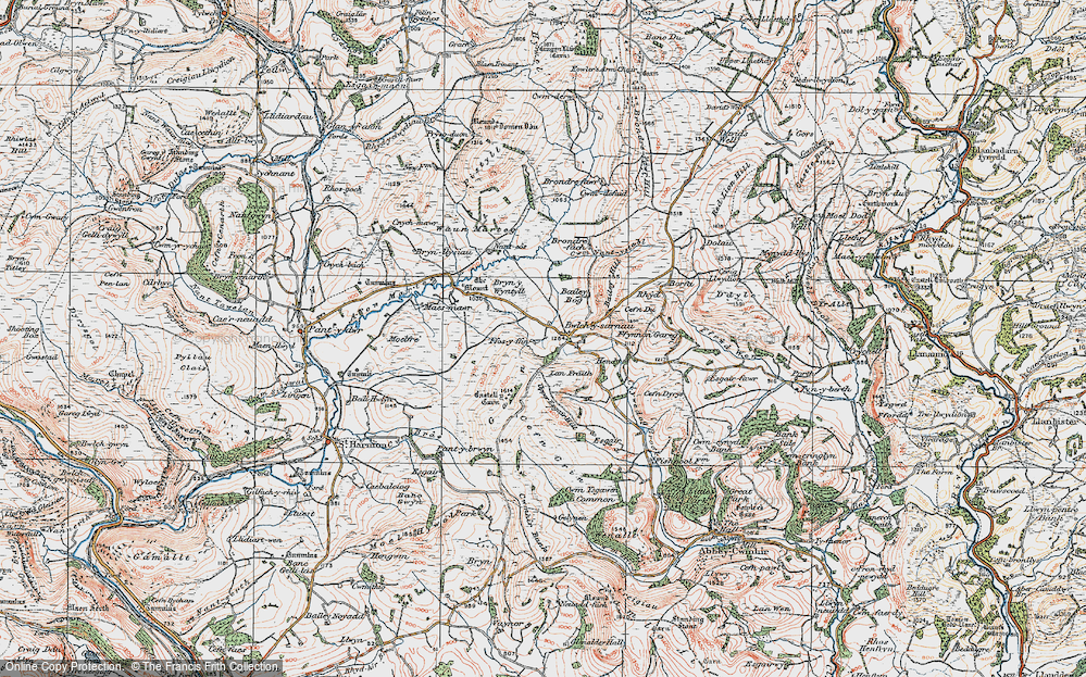 Old Map of Historic Map covering Bailey Bog in 1922