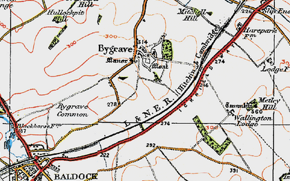 Old map of Bygrave in 1919