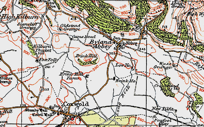 Old map of Byland Abbey in 1925