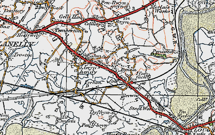 Old map of Bynea in 1923