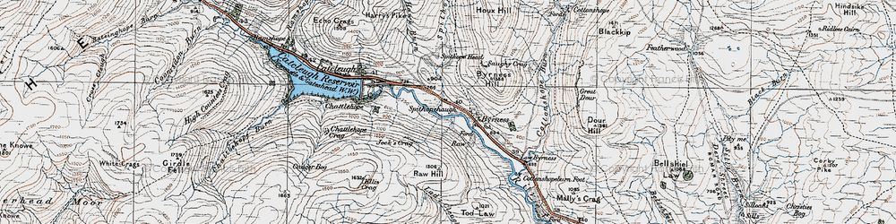 Old map of Windy Crag in 1926