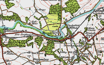 Old map of Bywell in 1925