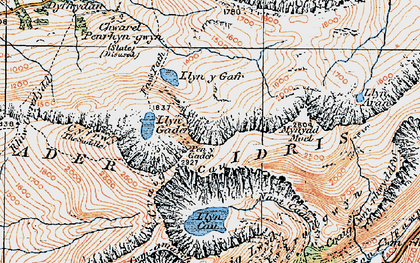 Old map of Cader Idris in 1921