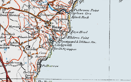 Old map of Cadgwith in 1919