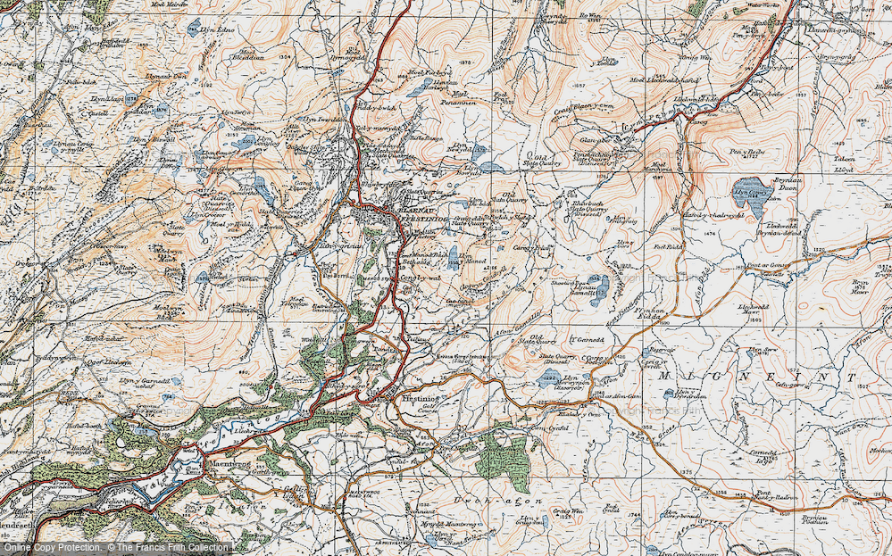 Old Map of Historic Map covering Afon Teigl in 1922