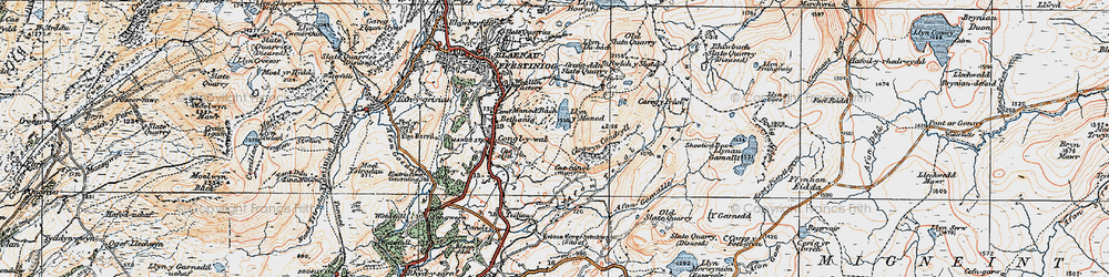 Old map of Afon Teigl in 1922