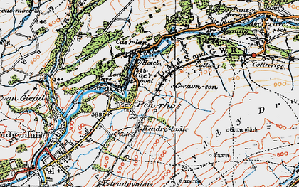 Old map of Cae'r-bont in 1923
